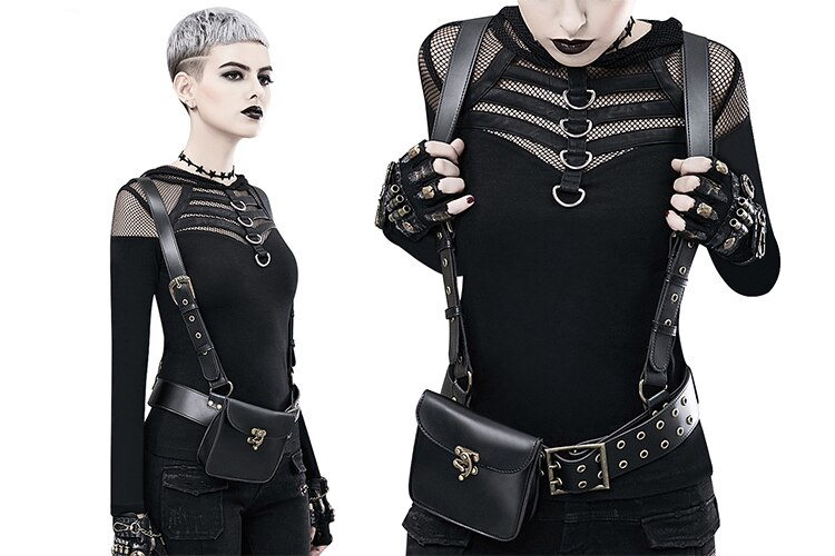 Gear Duke 2018 Designer Women's Steampunk Backpack PU Leather Backpacks For Women Gothic Shoulder Bags Motorcycle Waist Day Pack